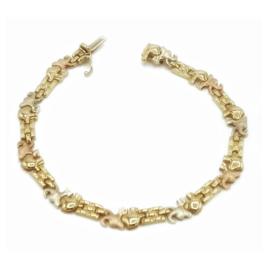 Armband in tricolor goud met olifantjes