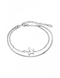dubbele zilveren armband met cubic zirconia