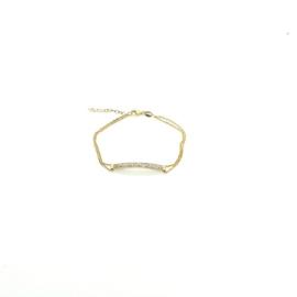 Orage zilveren armband met plaatje bezet met cubic zirconia, geel verguld