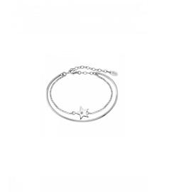 Lotus Silver dubbele zilveren armband met cubic zirconia