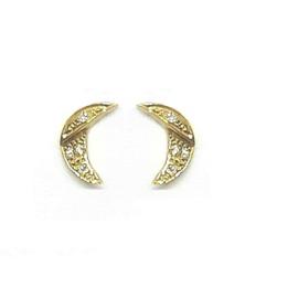 Oorbellen halve maan in geel goud met diamant