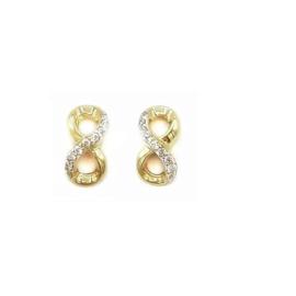Oorbellen infinity in geel goud met cubic zirconia