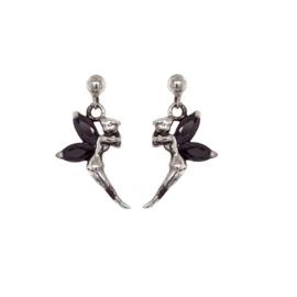 Zilveren oorbelletjes elfje met zwarte cubic zirconia