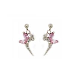 Zilveren oorbelletjes elfje met roze cubic zirconia