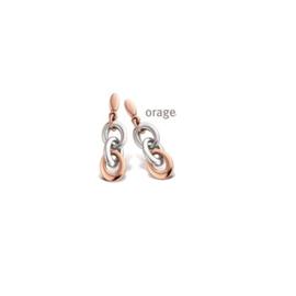 Orage oorslingers in een dikke schakel, bicolor, edelstaal