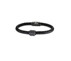 Lotus Style herenarmband in gevlochten zwart leder en edelstaal