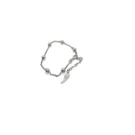 Zilveren armbandje ruthenium met engelenvleugel