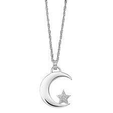zilveren ketting met hanger maan en ster