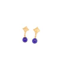 Plaqué gouden oorbellen met blauwe pareltjes