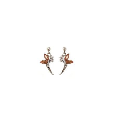 Zilveren oorbelletjes elfje met oranje cubic zirconia