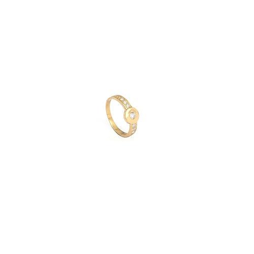 Handgemaakte ring in geel goud met diamant