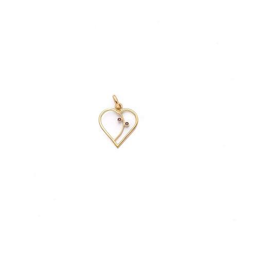 Handgemaakte hanger 'hartje' in geel goud met robijntjes