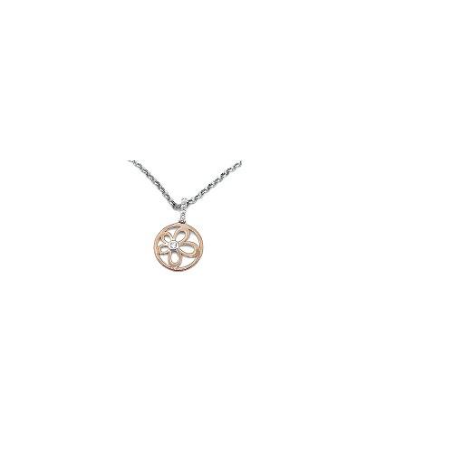 Orage Teenz zilveren ketting met hangertje bicolor bloempje