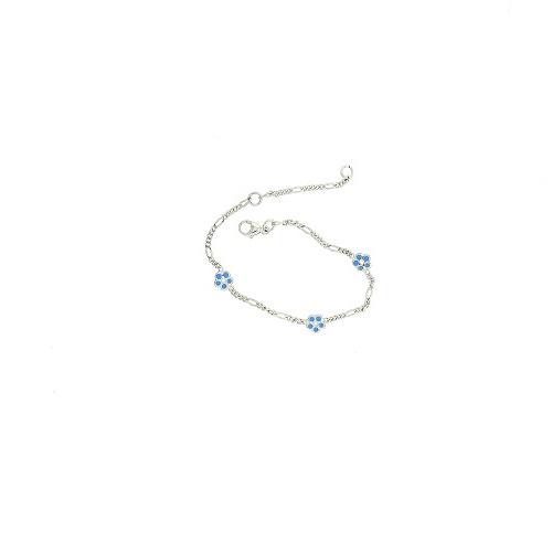 Orage Kids zilveren armbandje met blauwe bloemetjes