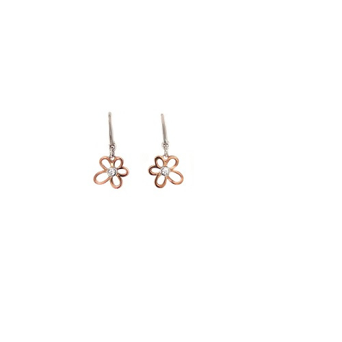 Orage Teenz zilveren oorbelletjes bicolor bloempje