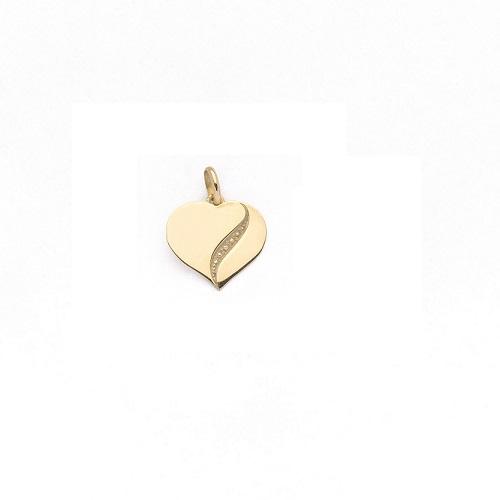 Handgemaakte hanger 'hartje' in geel goud