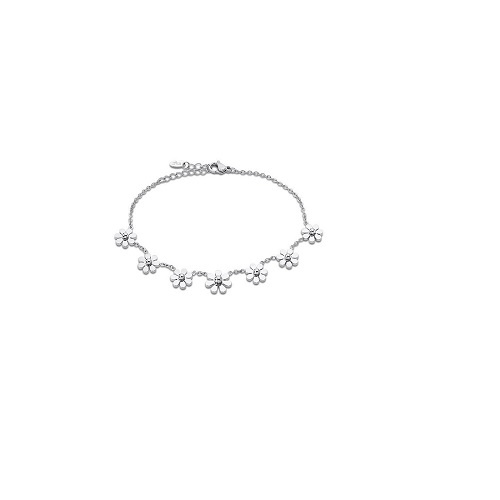 Lotus Style armband met bloemetjes - edelstaal