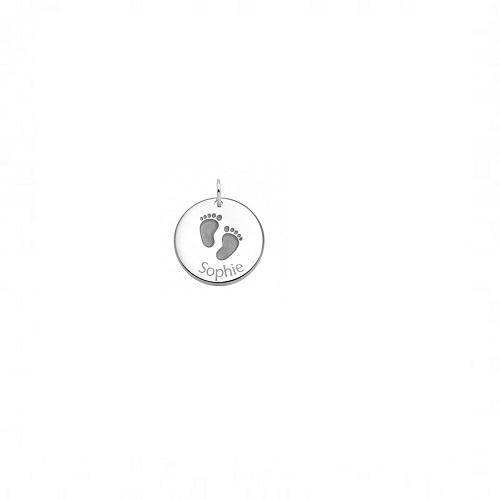 Tresor zilveren plaatje met babyvoetjes