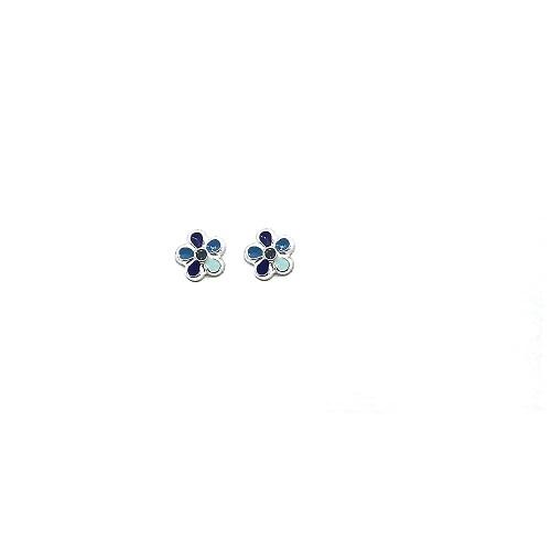 Orage Kids zilveren oorbelletjes bloempje blauw