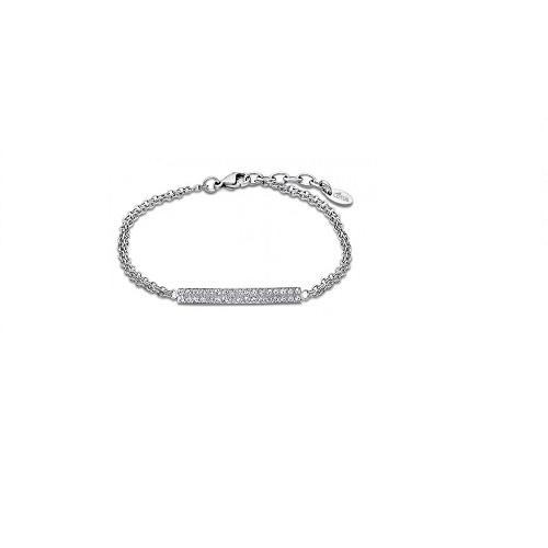 Lotus Style armband met plaatje bezet met cubic zirconia, edelstaal