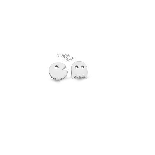 Orage Teenz zilveren oorbellen pac-man