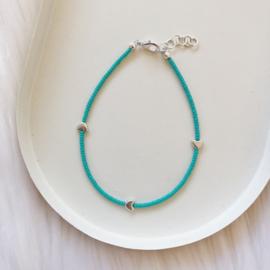 Enkelbandje   Turquoise - Hartjes