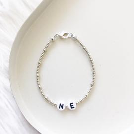 CUSTOM initialen   Kralen armband - Sterling Zilver