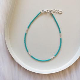 Enkelbandje   Turquoise - Zilver