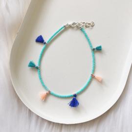 Enkelbandje | Kwastjes - Turquoise