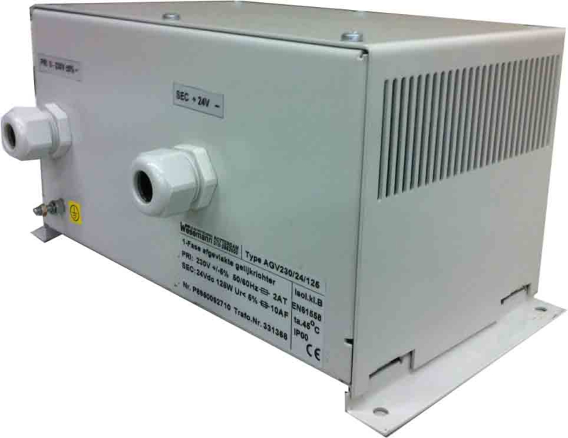 125W conventional rectifier power supply 230V/24VDC in plate steel enclosure