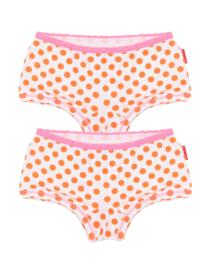 Claesens Girls 2 Pack Boxer Orange Dots