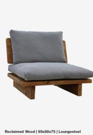 Lounge stoel 1p 95x88x75 Reclaimed wood incl kussens
