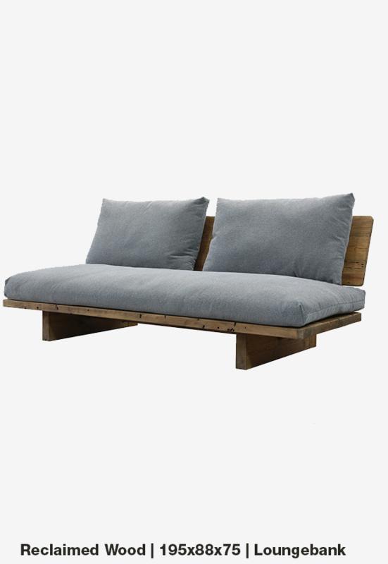 Lounge bank 3p 195x88x75 Reclaimed wood