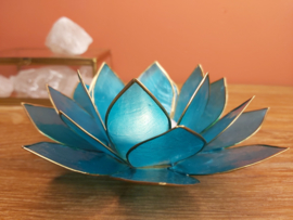 Lotusbloem theelichthouder aqua XL