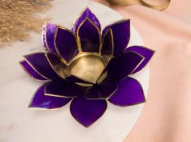 Lotusbloem theelichthouder donkerpaars XL