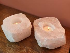 Bergkristal en rozenkwarts theelichthouders / waxinelichthouders duo