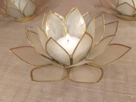 Lotusbloem theelichthouder  wit XL