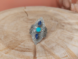 Turkoois en lapis lazuli ring trio