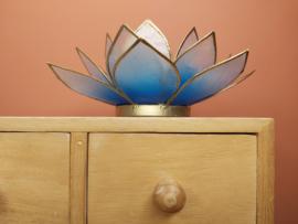 Lotusbloem theelichthouder / waxinelichthouder lichtblauw/wit XL