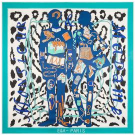 Emilie Scarves Sjaal Zijden blend 130*130CM Panter - Blauw - Giftbox