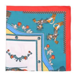 Zijden sjaaltje   Vierkant   Klein Kort sjaaltje   70*70CM   Blauw groen wit