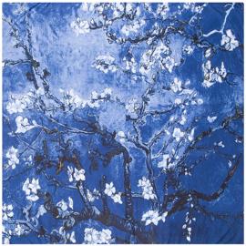 Van Gogh Amandelbloesem | Zijden Sjaal Dames | Zijden blend | 130*130CM | Giftbox | shawl stola | Schilderij | Donker Blauw