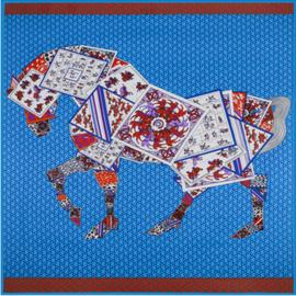 Emilie Scarves Sjaal Zijden blend 130*130CM Blauw - Paard - Giftbox