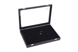 Sieraden display voor het opbergen van manchetknopen / ringen / oorbellen   sieraden doos met glazen klep / deksel   zwart