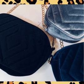 Dames tas - schoudertas - fluweel - blauw