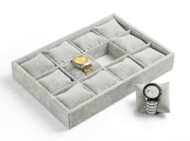 Sieraden display met 12 vakken voor armbanden of horloges - doos met kussentjes / kussen / grijs