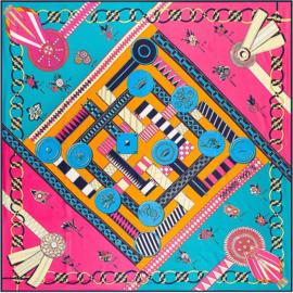 Emilie Scarves Sjaal Zijden blend 130*130CM Fuchsia - Print - Giftbox