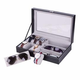 Horloge en brillen doos - display opbergen horloges en zonnebrillen - met deksel en slot - zwart