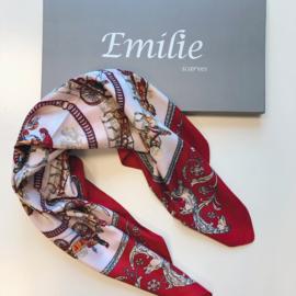 Zijden sjaaltje | Vierkant | Klein Kort sjaaltje | 70*70CM | rood roze