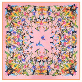 Emilie Scarves Sjaal Zijden blend 130*130CM Roze - Vogels - Giftbox